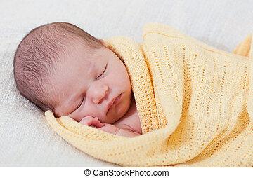 毛毯, 黃色, 睡覺, 新生的嬰孩, 包裹