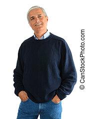 毛線衫, 牛仔褲, 中間, 老年, 暫存工, 人