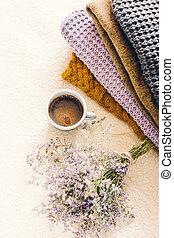 毛織りである, もの, コーヒー, 快適さ, 編まれる, 家