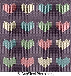 毛織りである, 有色人種, バレンタイン, 紫色, パターン, seamless, 編まれる, バックグラウンド。, 型, 心, 日