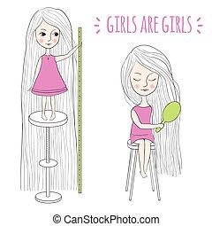 毛, かわいい, 女の子, 長い間