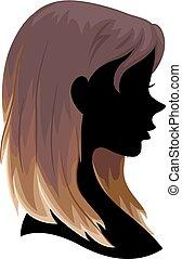 毛, シルエット, 女の子, ombre, イラスト