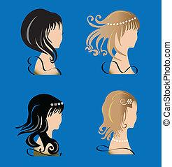毛 セット, 美しさ, 女性