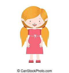 毛, バラ, 女の子, 服, おさげ