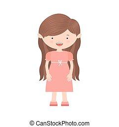 毛, バラ, 女の子, 服, 長い間