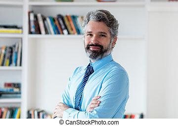 毛, ビジネスマン, 微笑, 灰色, ネクタイ