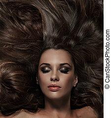 毛, ブルネット, 美しさ, 長い間