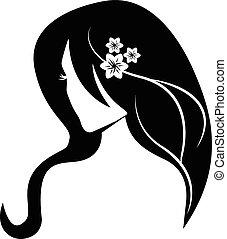 毛, ロゴ, 女の子, 美しさ