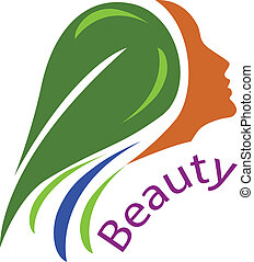 毛, ロゴ, 女, ベクトル, face-healthy