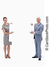毛, 大きい, 背景, 印, 白, 保有物, ビジネスマン, に対して, 女性の指すこと