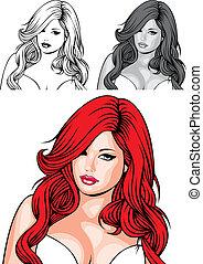 毛, 女の子, 赤, すてきである