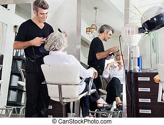 毛, 女性, スタイルを作ること, 美容師