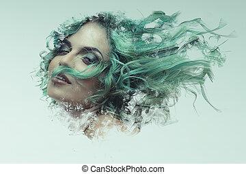 毛, 女, 芸術, wind., sensual, ヌード, ポーズを取りなさい, 暗い, ブルネット, amazon...