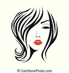 毛, 女, 若い, 長い表面