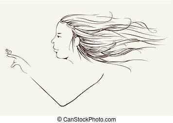 毛, 女, 長い間