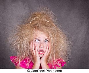 毛, 狂気, 交差点, 女の子, じろじろ見られた