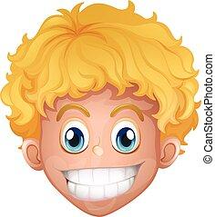 毛, 男の子, 微笑, ブロンド