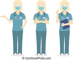 毛, 看護婦, 医者, 女, ブロンド