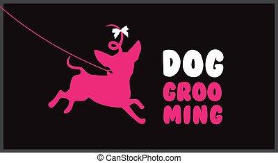 毛, 美しさ, grooming., 大広間, logo., 手入れをすること, ロゴ, ペット, 犬, salon.