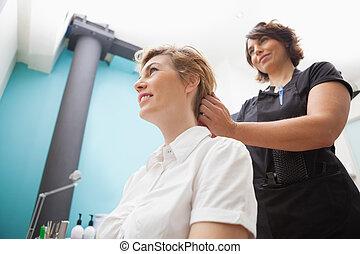 毛, 美容師, スタイルを作ること, 顧客