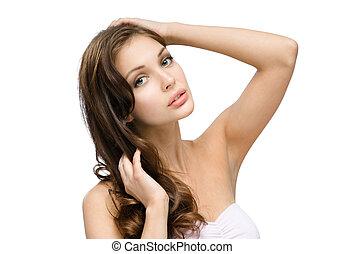 毛, 肖像画, 女の子, 感動的である, 彼女