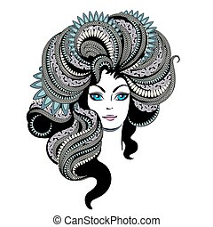 毛, 肖像画, 女, 若い, 華やか