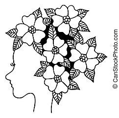毛, 花, 線, 黒人の少女