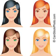 毛, colors., 女性