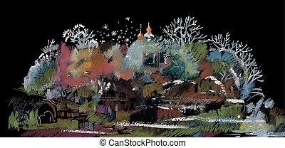 氈制粗頭筆, 秋天, 鄉村, 風景。