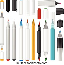 氈制粗頭筆, 記號, mockup, 集合, 現實, 風格