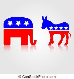 民主的, そして, 共和党員, 政治的である, シンボル