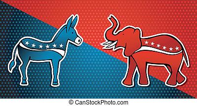 民主的, アメリカ, 選挙, ∥対∥, パーティー, 共和党員