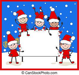 民族的で混ぜられた, クリスマス, 子供