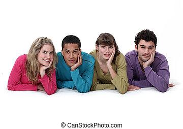 民族的に 多様, グループ, 若い人々