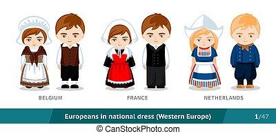 民族, ヨーロッパ, characters., 隔離された, 国民, フランス, costume., セット, 漫画, ベルギー, 伝統的である, netherlands., dress., 人々, 男性, 身に着けていること, 女性