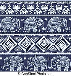 民族, seamless, 象