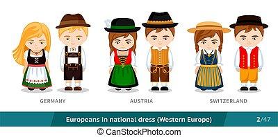 民族, switzerland., ヨーロッパ, 身に着けていること, 国民, ドイツ, オーストリア, セット, 伝統的である, 人々, dress., 男性, costume., 女性