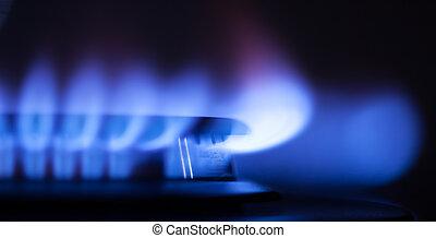 气体, 火焰, 部份