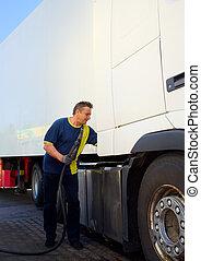 气体, 駕駛員, 車站, 跑, 卡車