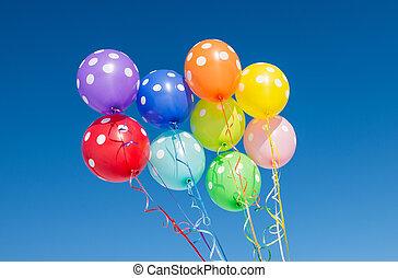 气球, 針對, the, 藍色的天空