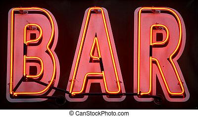 氖, 酒吧, 紅色, 簽署