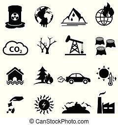 気候, セット, 地球温暖化, 変化しなさい, アイコン
