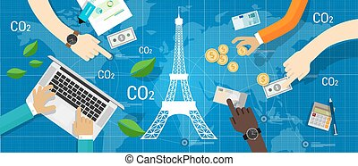 気候, パリ, 世界的である, 協定, 合意, 縮小, 放出, 炭素