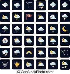 気候, ベクトル, icons., 予報, シンボル, meteo, 天候
