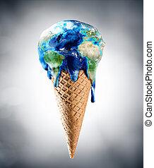 気候, -, 変化しなさい, 世界, クリーム, 氷