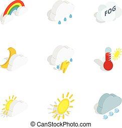 気候, 等大, アイコン, スタイル, 3d