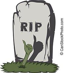 気味悪い, 墓碑