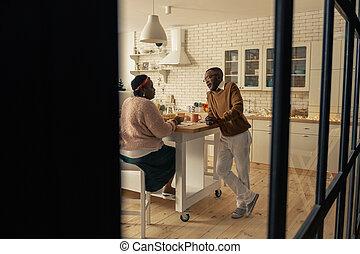 気持が良い, 話し, 恋人, すてきである, 台所