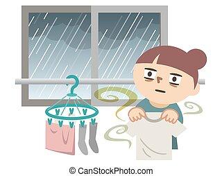 気絶させられた, ∥そうすることができない∥, 衣服, 彼女, because, イラスト, 雨, 彼女, 乾きなさい...