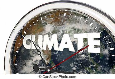 氣候變化, 鐘, 地球, 手, 被套料, 3d, 插圖